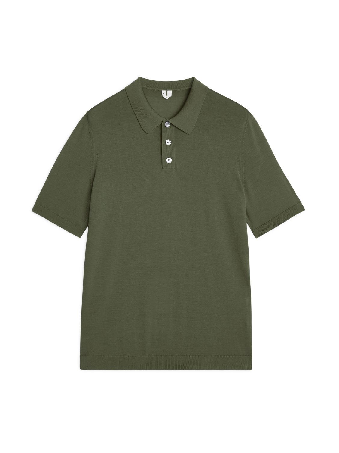Cotton Silk Polo Shirt Green Knitwear Arket