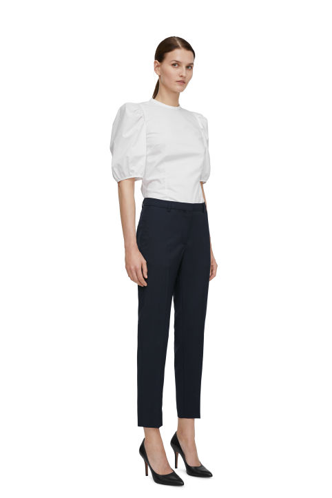 Straight Tailored Wool Trousers