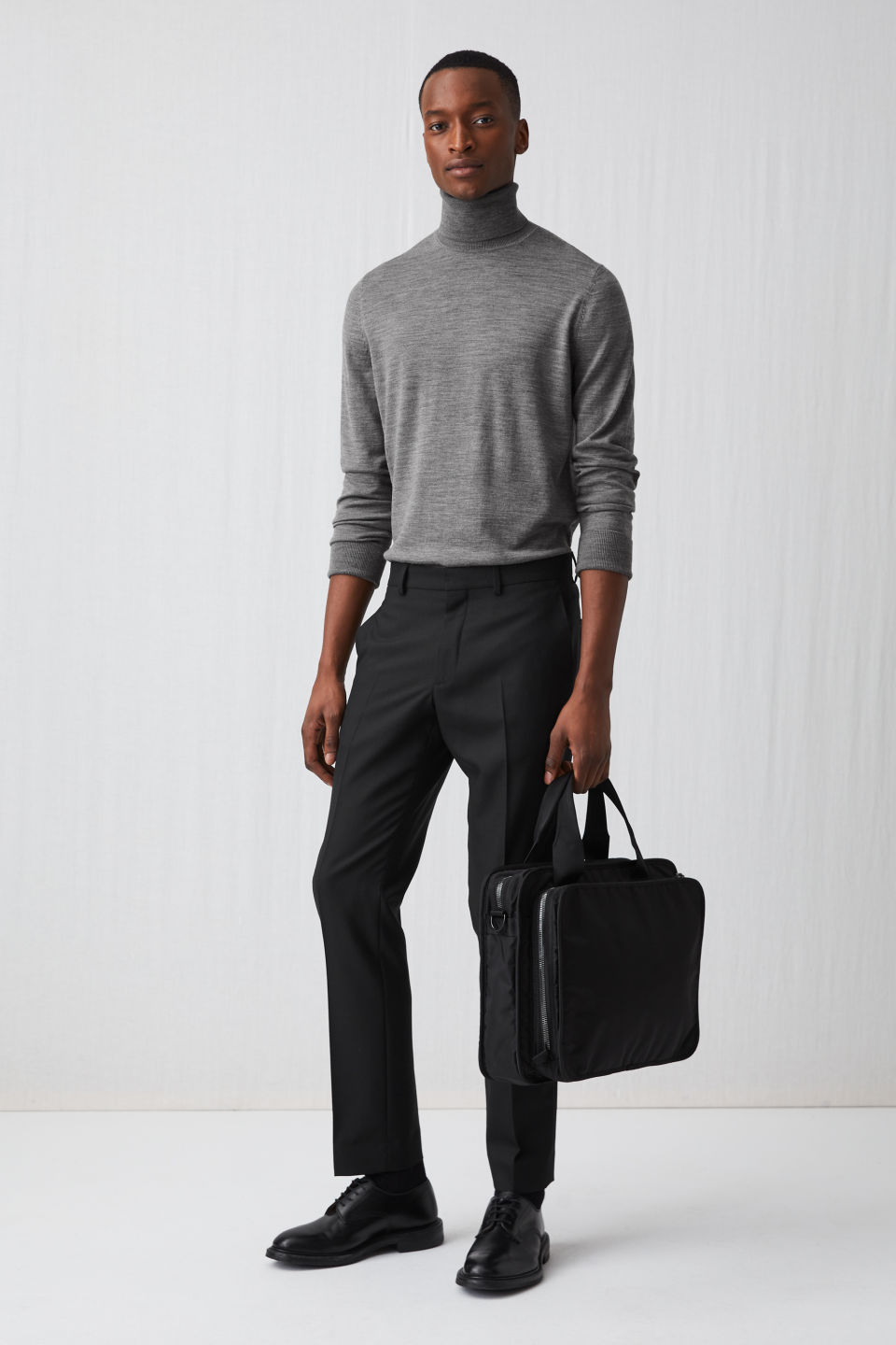 Model front image of Arket merino roll-neck jumper in grey