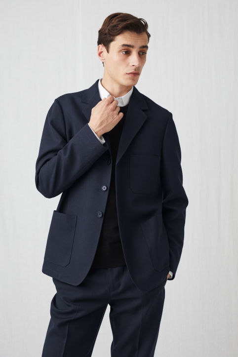 Washed Wool Workwear Blazer