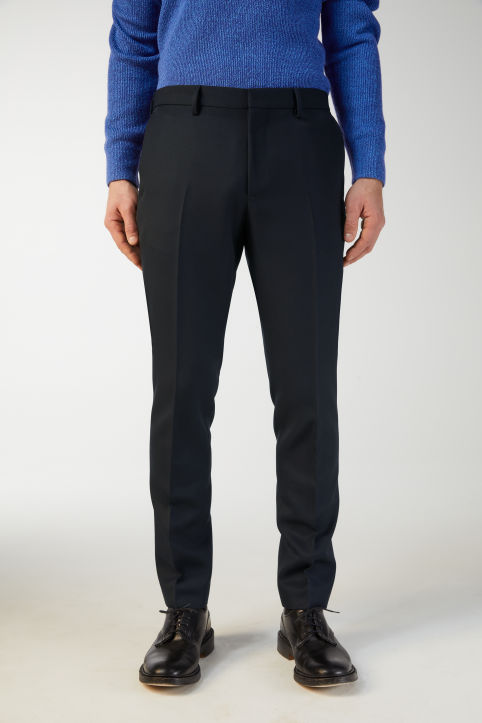 Wool Twill Trousers, Slim