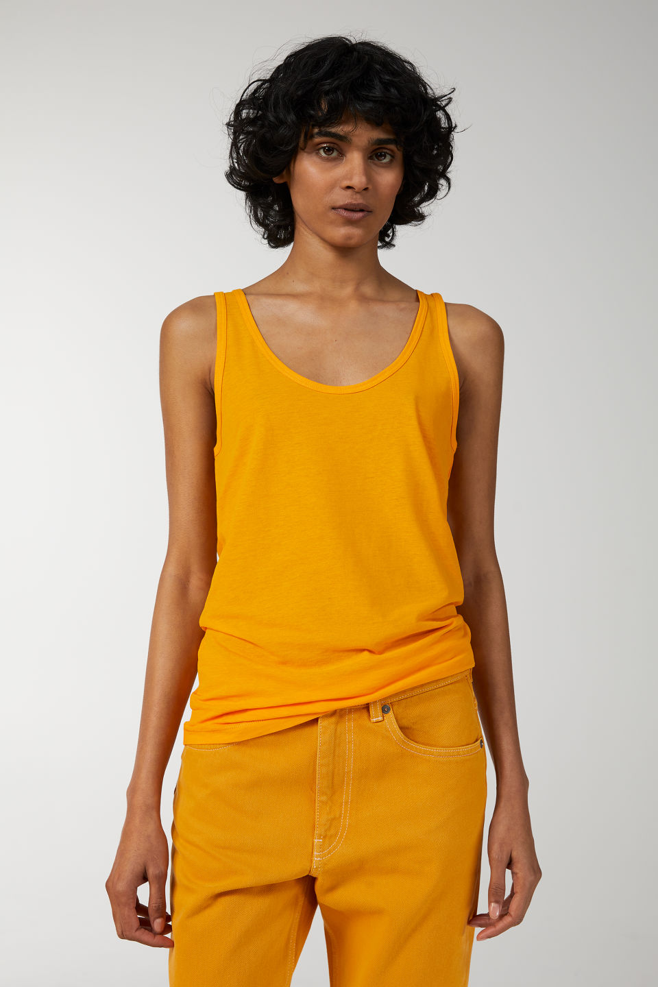 Model front image of Arket pima cotton tank top in yellow