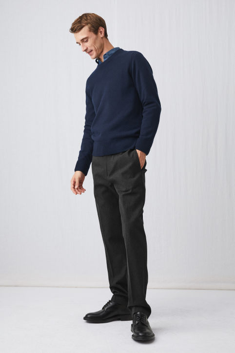 Straight Neppy Cotton Trousers