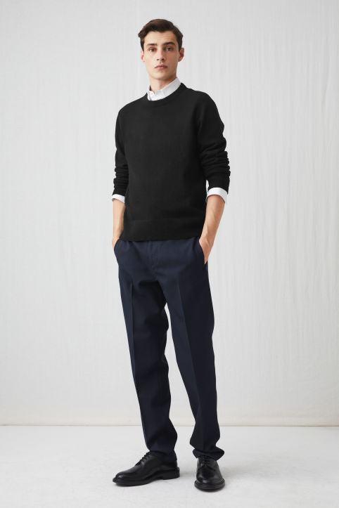 Straight Washed Wool Trousers