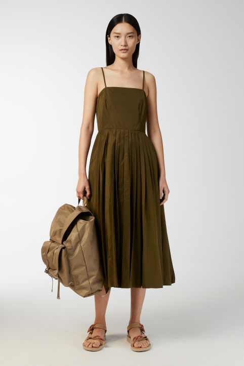 Pleated Strap Dress