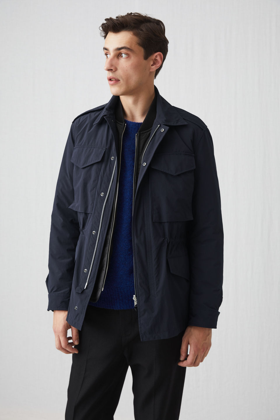 Model front image of Arket lightweight field jacket in blue