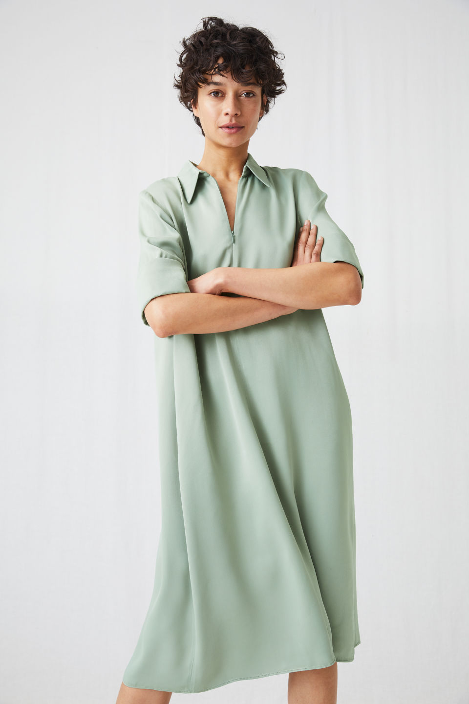 Model front image of Arket a-line satin dress in green