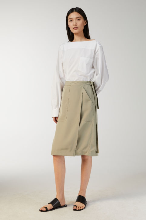 Fluid Twill Wrap Skirt