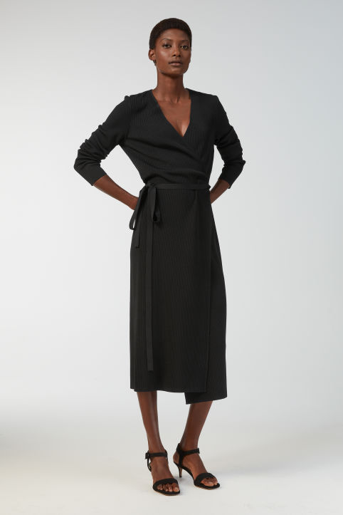 Rib-Knitted Wrap Dress