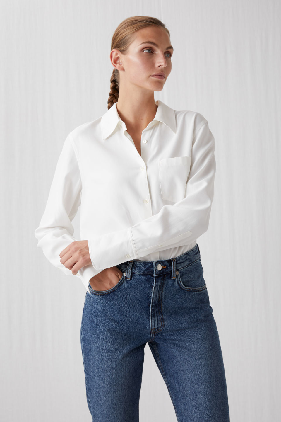 Model front image of Arket fluid twill blouse in white