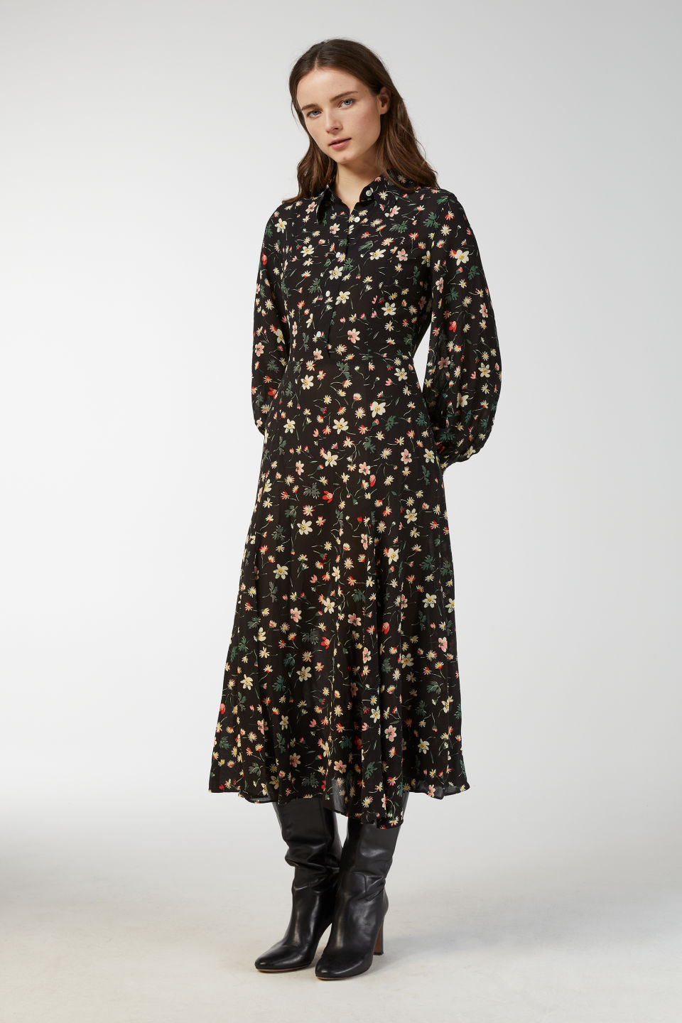 Model front image of Arket floral print crepe dress in black