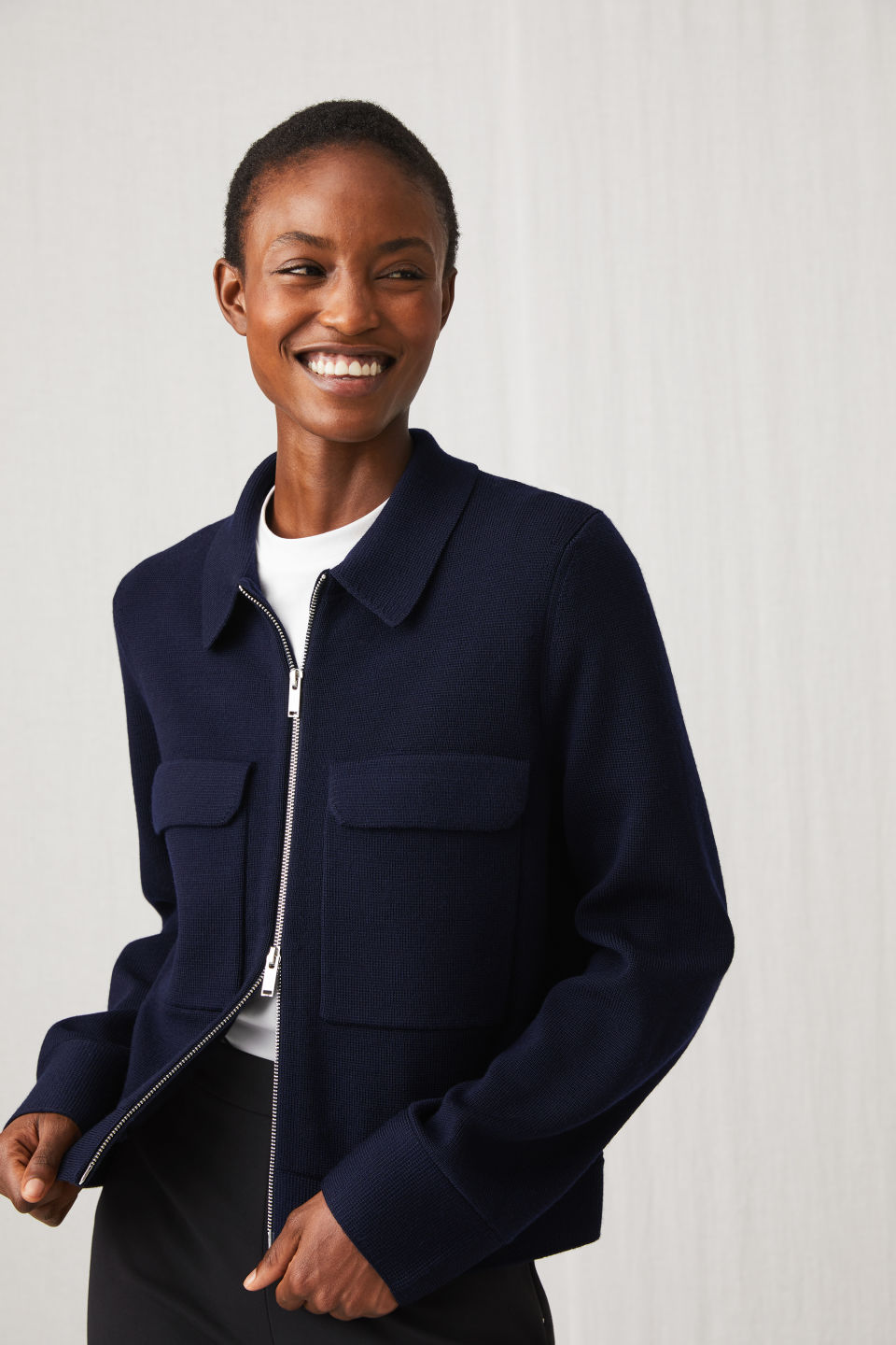 Model front image of Arket merino box jacket in blue