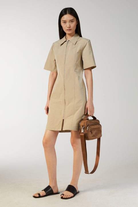 Zip-up Taffeta Dress