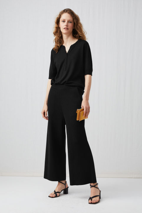 Wide Rib-Knit Trousers