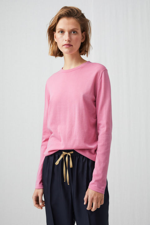 Cotton Nylon Fine-Knit Jumper