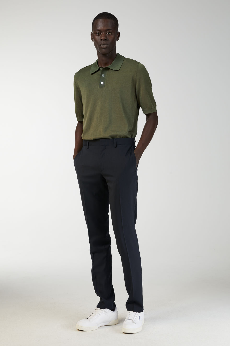 Model front image of Arket cotton silk polo shirt in green