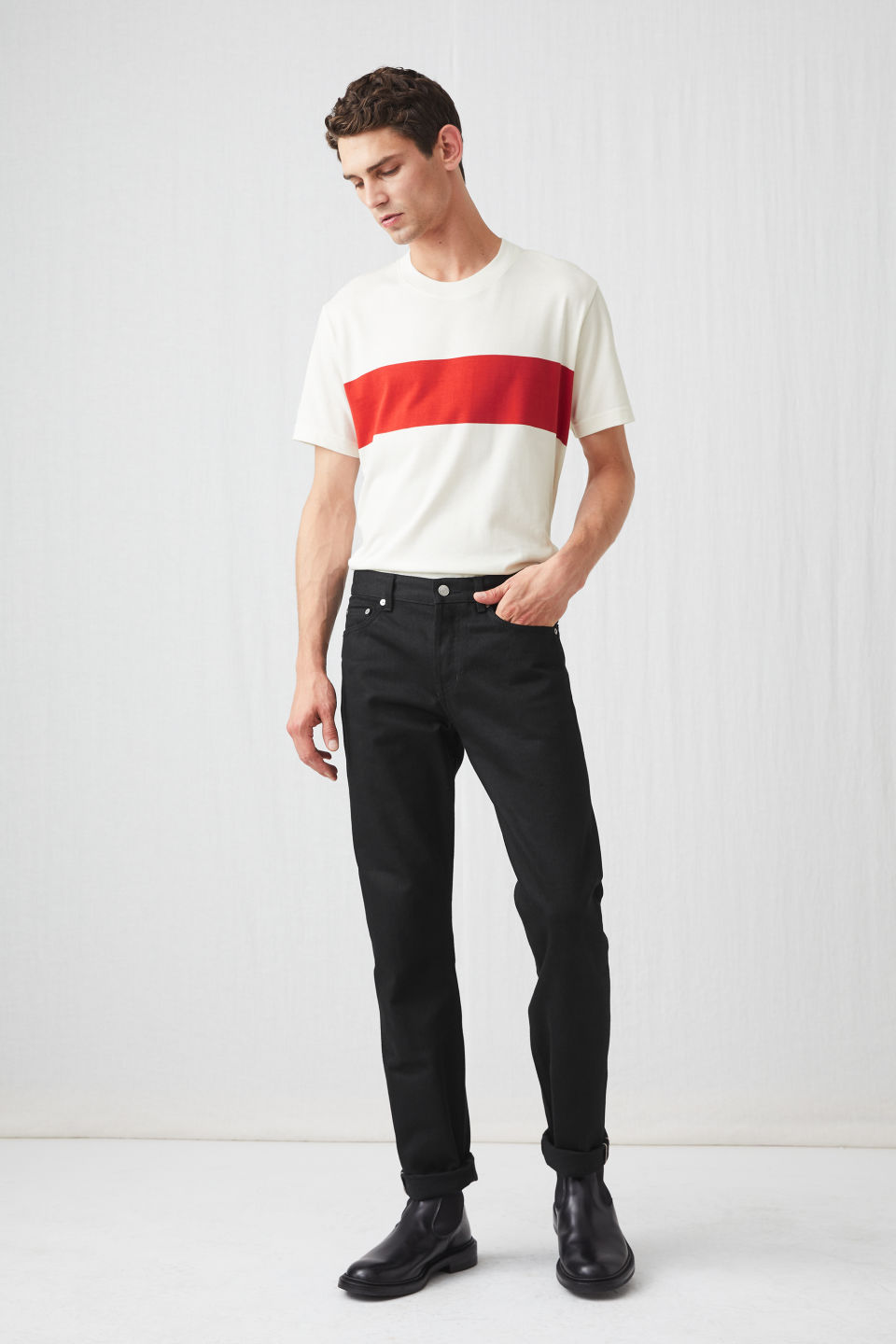 Model front image of Arket striped t-shirt in white