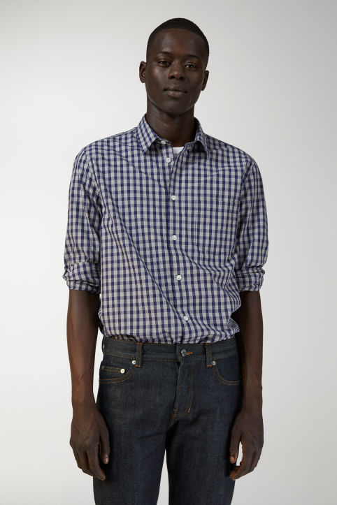 Shirt 13 Blue Check Poplin