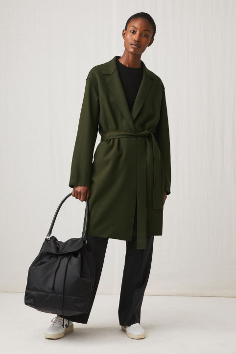 Belted Wool Jersey Coat
