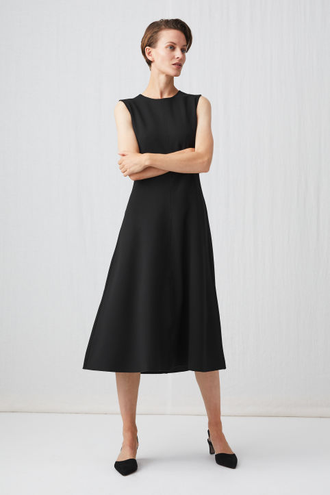 Sleeveless Crepe Twill Dress