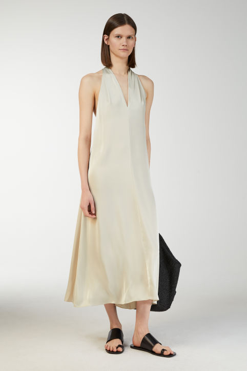Satin Halter-Neck Dress