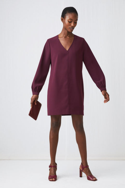 V-Neck Crêpe Dress