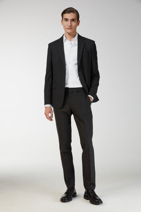 Wool Hopsack Trousers, Slim