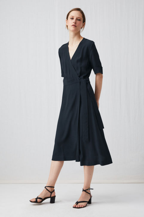 Fluted Wrap Dress