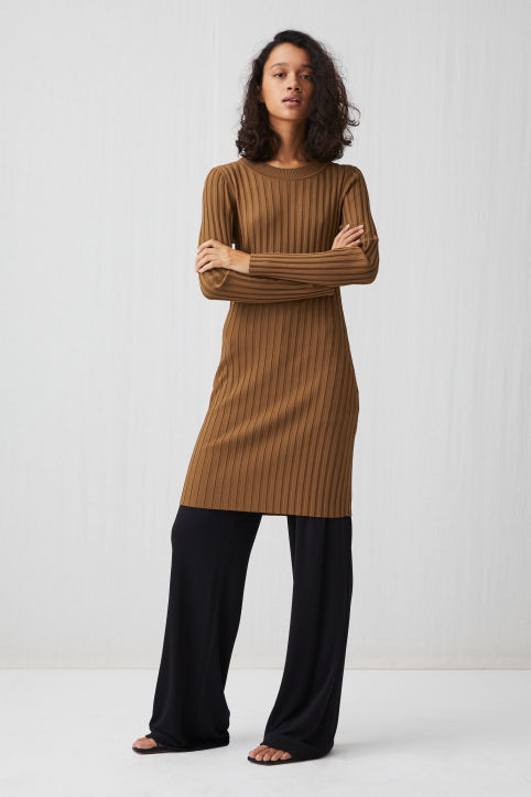 Wide Rib-Knit Dress