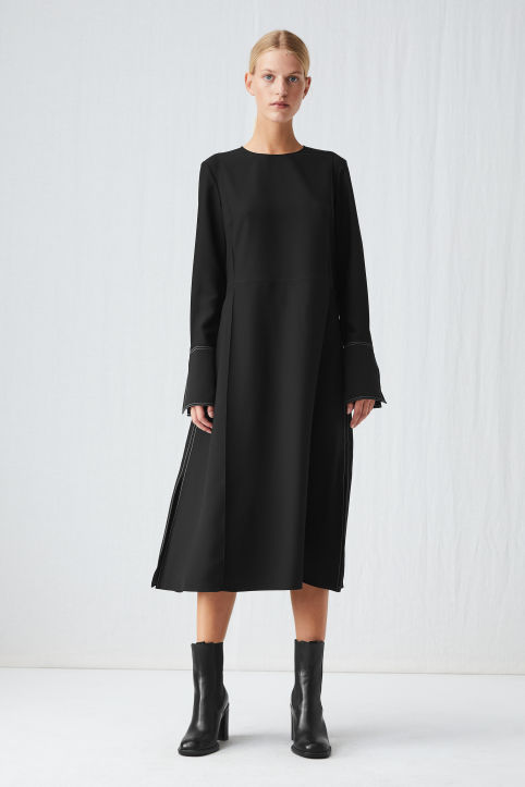Contrast-Stitch Crepe Dress