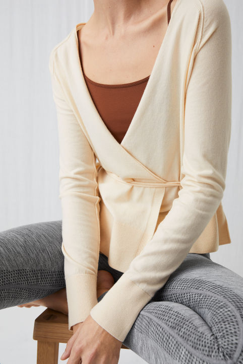 Fine-Knit Wrap Cardigan