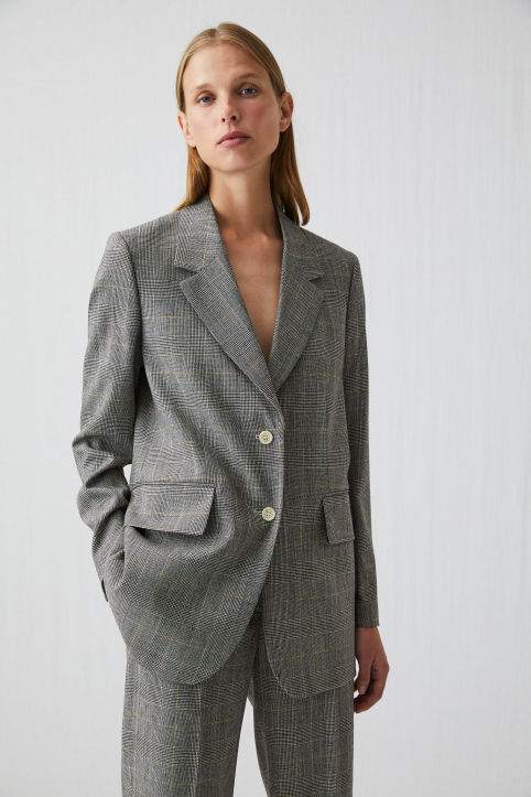 Checked Wool Blend Blazer