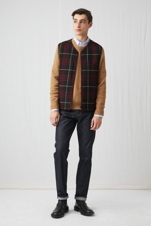 Raw Wool Check Vest