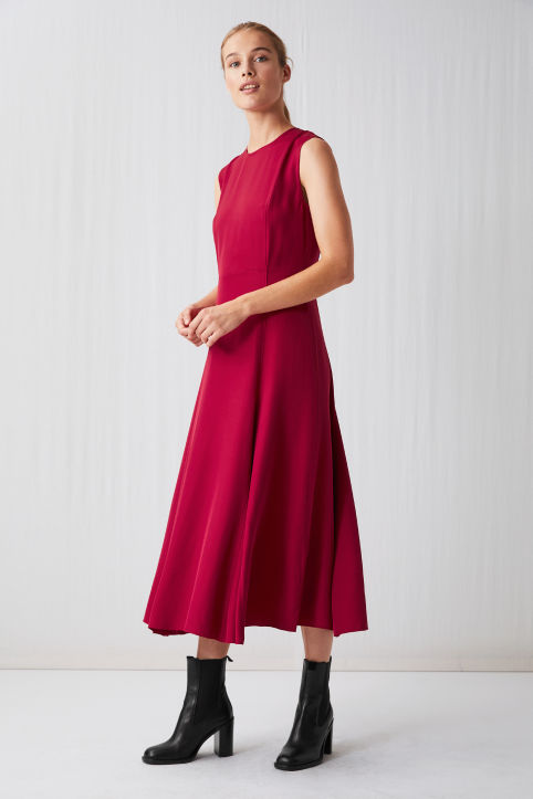 Flared Crepe Dress