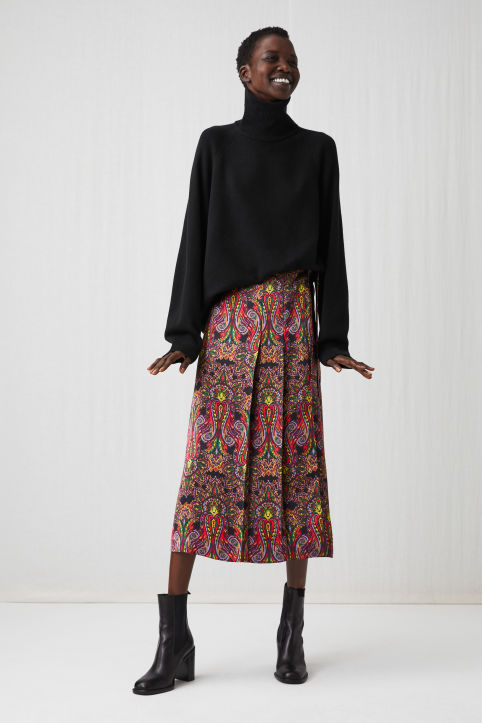 Paisley Satin Wrap Skirt