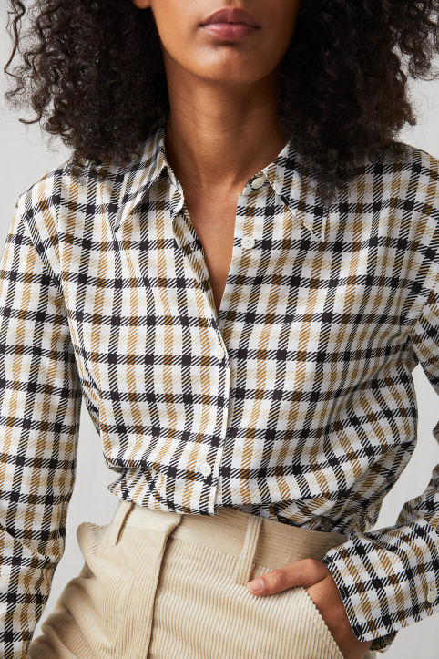 Cotton Silk Check Shirt