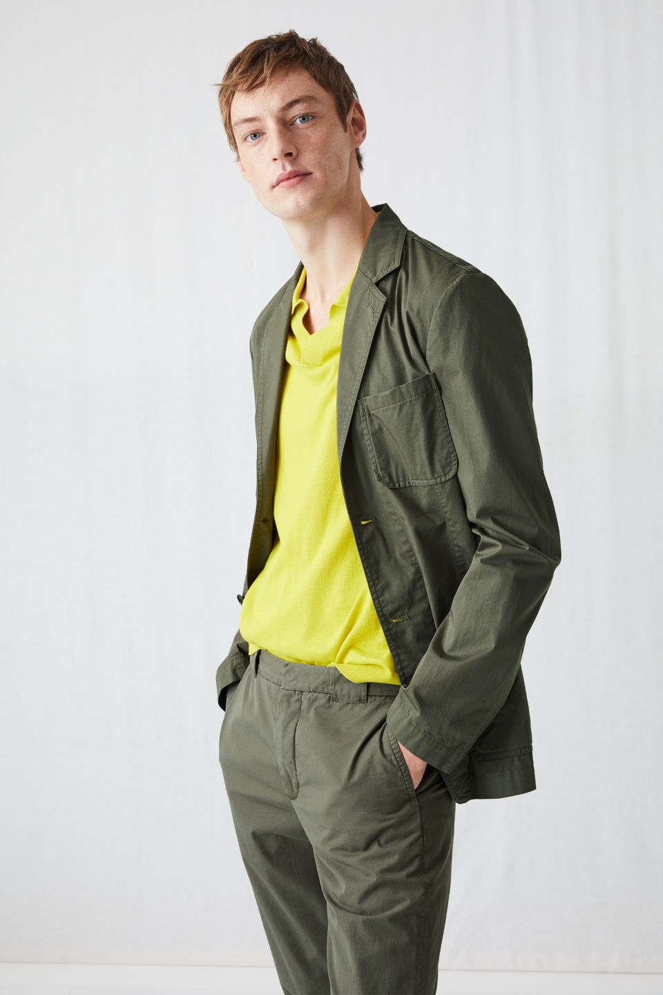 Model front image of Arket cotton utility blazer in green