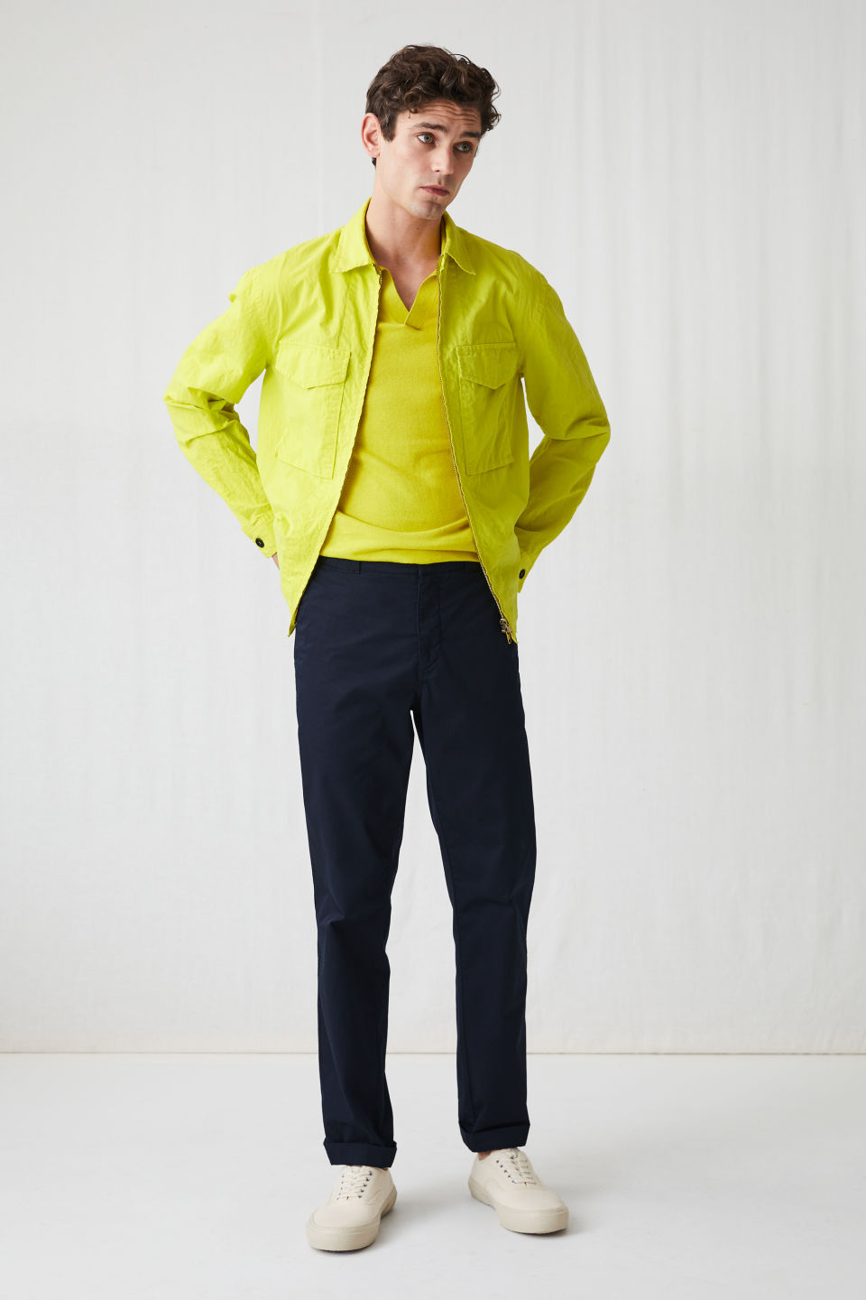 Model front image of Arket high-density overshirt in yellow