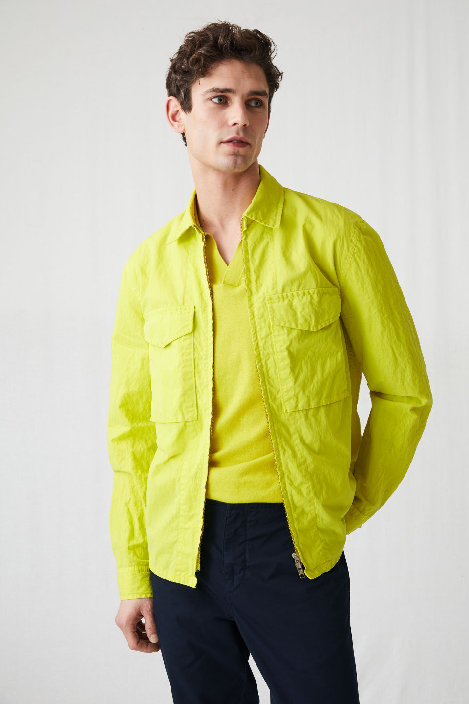 Model side image of Arket high-density overshirt in yellow