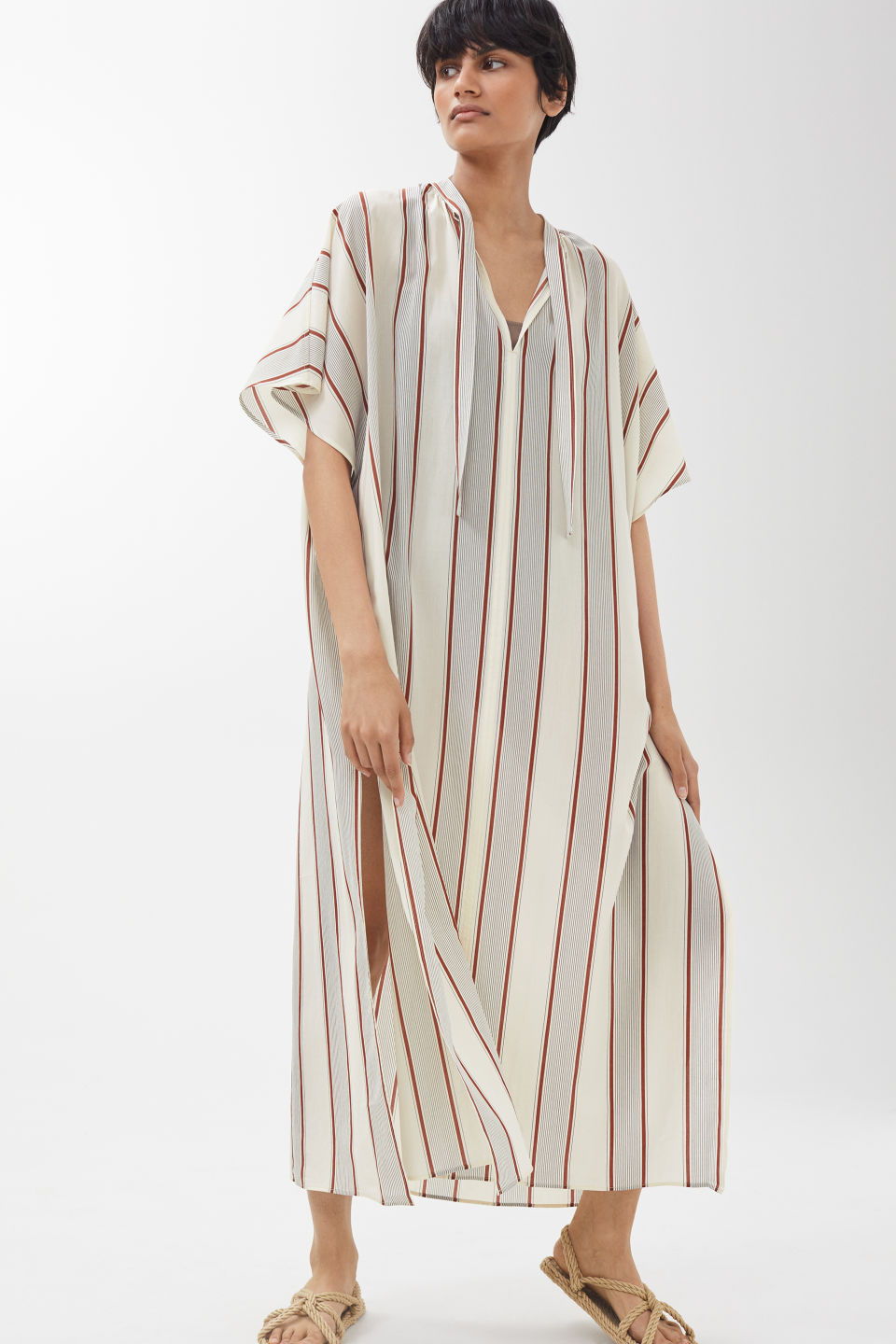 Model front image of Arket no ecom-striped kaftan dress in white
