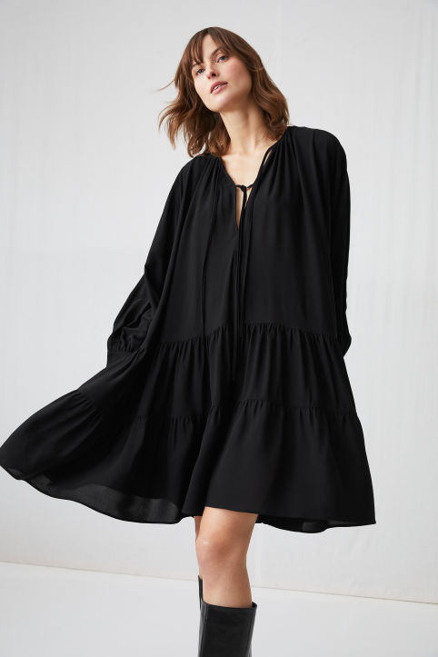 Ruffled Crêpe Dress