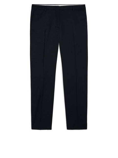 Front image of Arket straight tailored wool trousers in blue