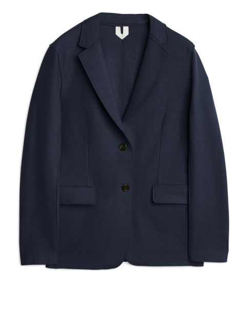 Raw-Edge Wool Jersey Blazer