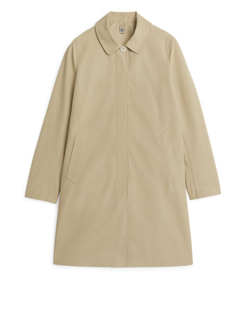 Front image of Arket mid-length car coat in beige