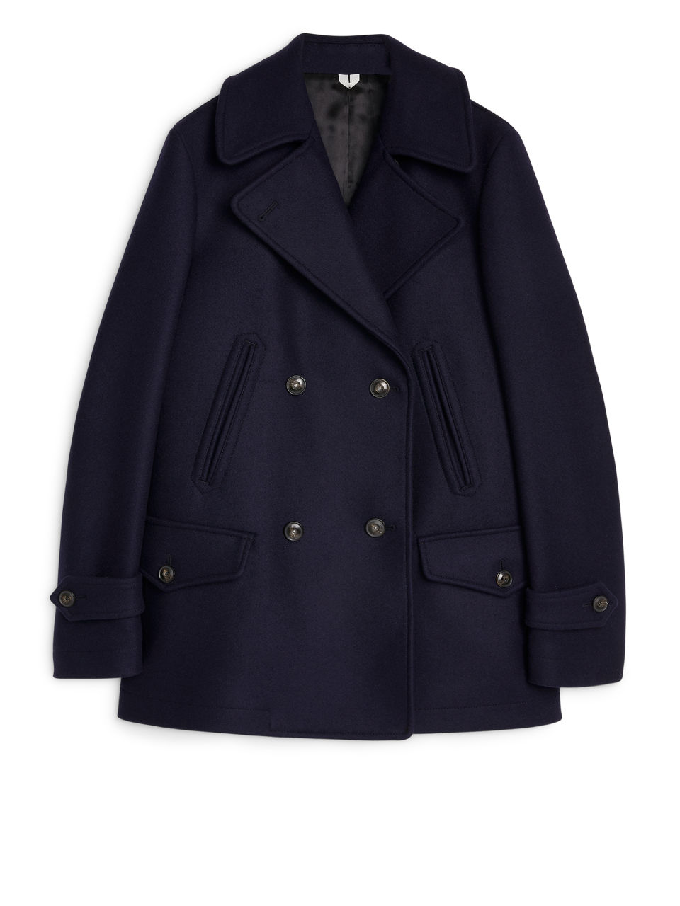 Front image of Arket melton wool pea coat in blue
