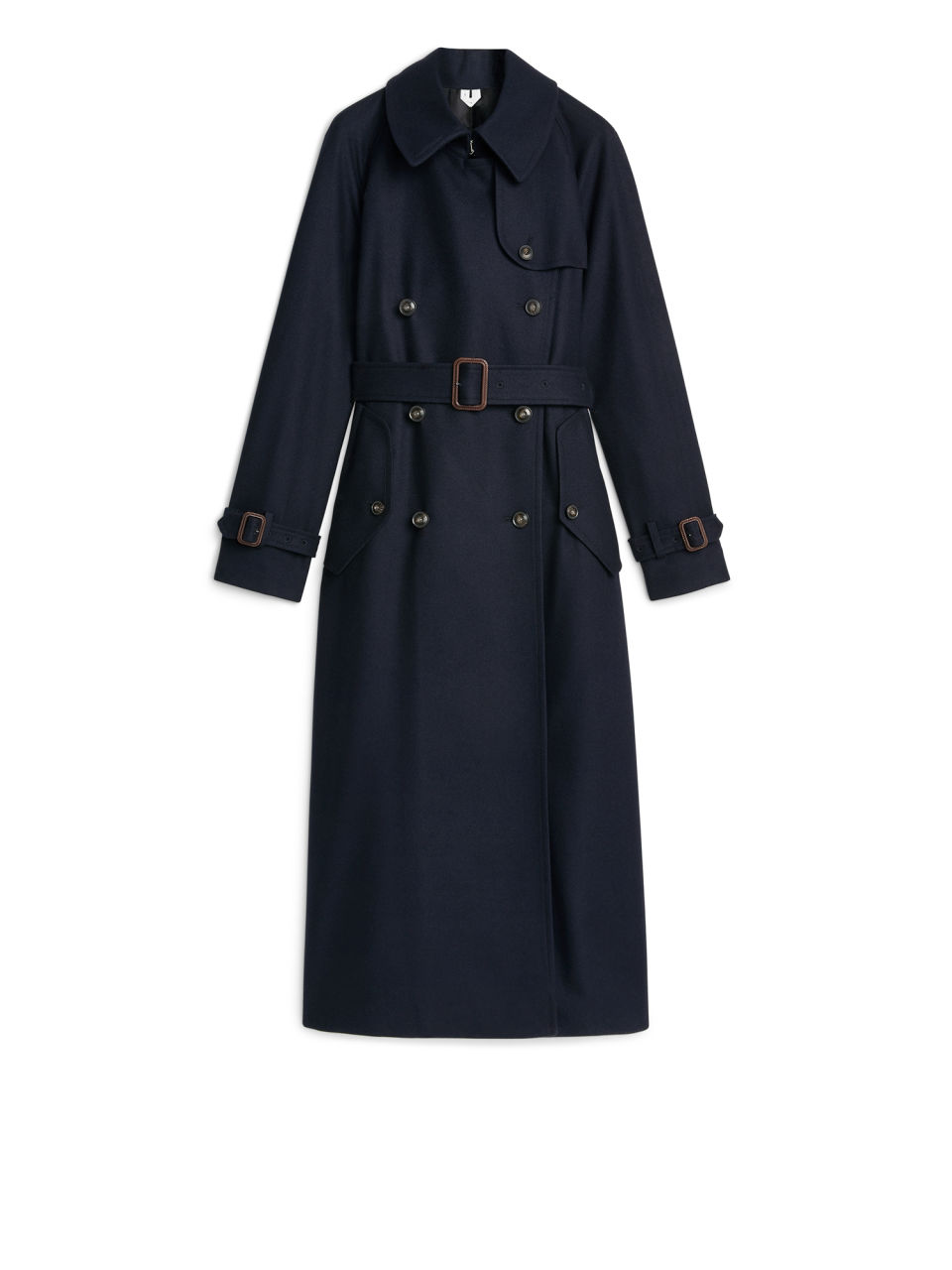 Front image of Arket long wool trench coat in blue