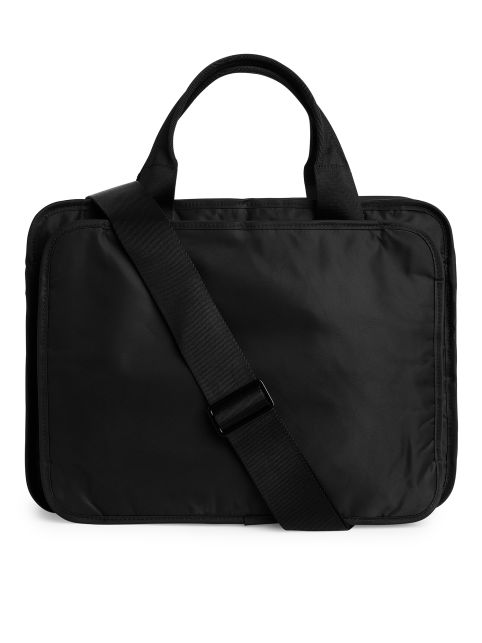 Front image of Arket 2017 nylon briefcase in black