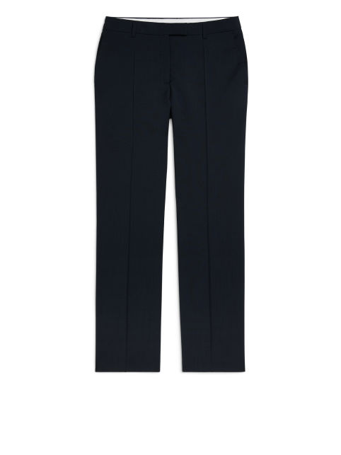 Front image of Arket tailored wide-leg wool trousers in blue