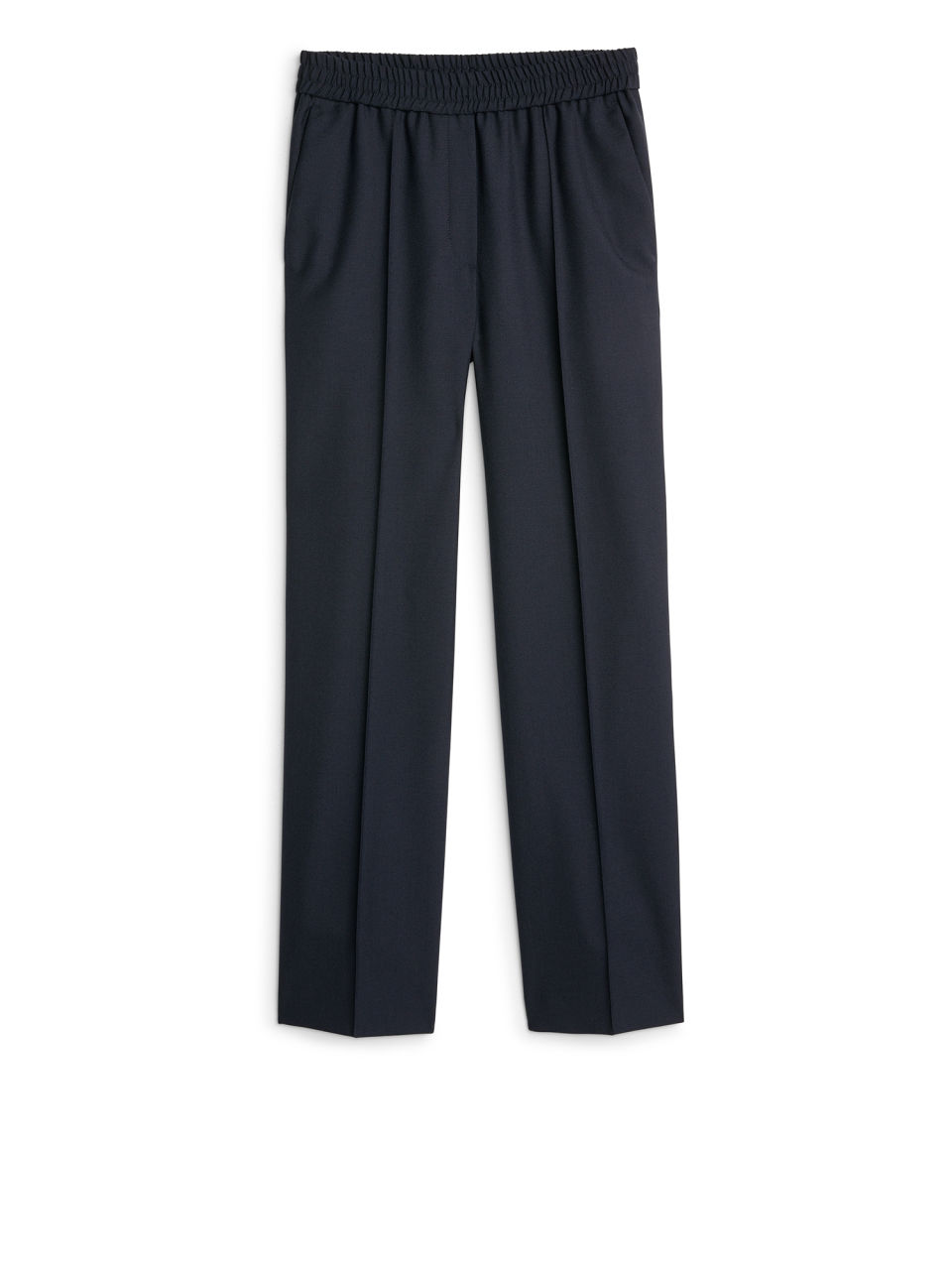 Front image of Arket elastic waist wool trousers in blue