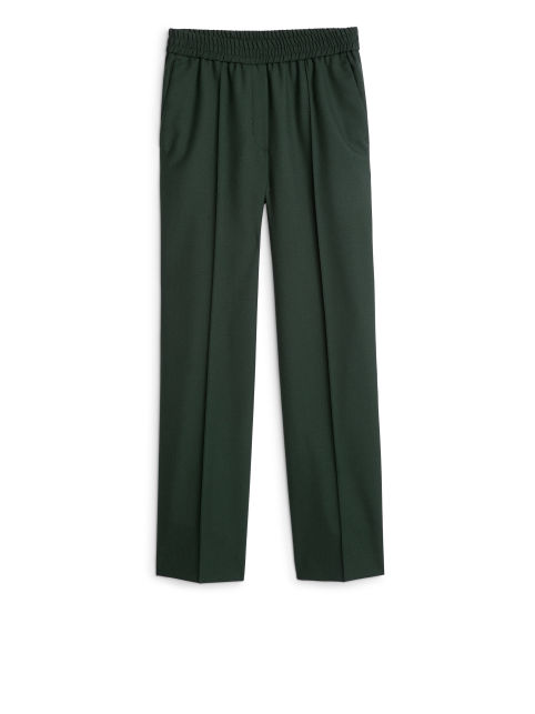 Elastic Waist Wool Trousers